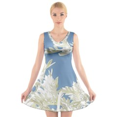 Nature Pattern V Neck Sleeveless Skater Dress