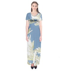 Nature Pattern Short Sleeve Maxi Dress
