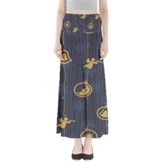Christmas Angelsstar Yellow Blue Cool Full Length Maxi Skirt