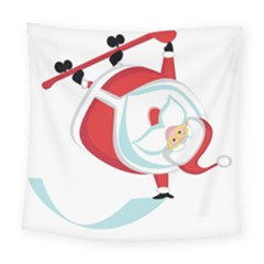 Christmas Santa Claus Snow Sky Playing Square Tapestry (large)