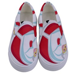 Christmas Santa Claus Snow Sky Playing Kids  Canvas Slip Ons