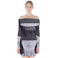 Beautiful Bnw Fractal Feathers For Major Motoko Long Sleeve Off Shoulder Dress