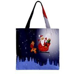 Deer Santa Claus Flying Trees Moon Night Merry Christmas Zipper Grocery Tote Bag