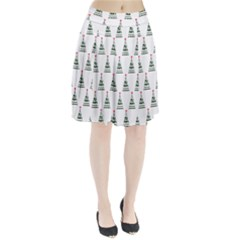 Christmas Tree Green Star Red Pleated Skirt