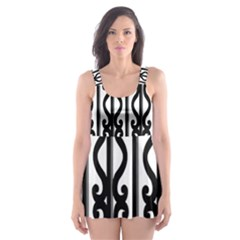 Inspirative Iron Gate Fence Grey Black Skater Dress Swimsuit