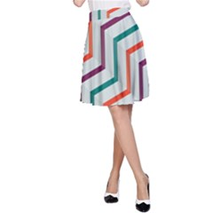 Line Color Rainbow A Line Skirt