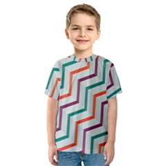 Line Color Rainbow Kids  Sport Mesh Tee