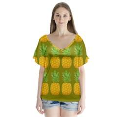 Fruite Pineapple Yellow Green Orange V Neck Flutter Sleeve Top
