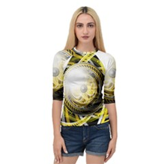 Incredible Eye Of A Yellow Construction Robot Quarter Sleeve Raglan Tee