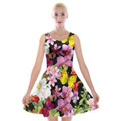 Beautiful,floral,hand Painted, Flowers,black,background,modern,trendy,girly,retro Velvet Skater Dress