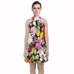 Beautiful,floral,hand Painted, Flowers,black,background,modern,trendy,girly,retro Velvet Halter Neckline Dress
