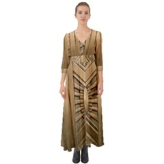 Art Deco Gold Door Button Up Boho Maxi Dress