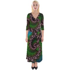Benthic Saltlife Fractal Tribute For Reef Divers Quarter Sleeve Wrap Maxi Dress