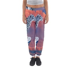 Lion Tigel Chetah Animals Snow Moon Blue Sky Women s Jogger Sweatpants
