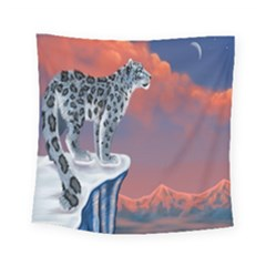 Lion Tigel Chetah Animals Snow Moon Blue Sky Square Tapestry (small)