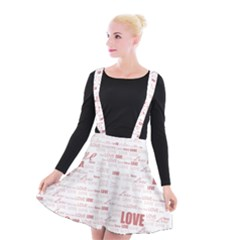 Love Heart Valentine Pink Red Romantic Suspender Skater Skirt