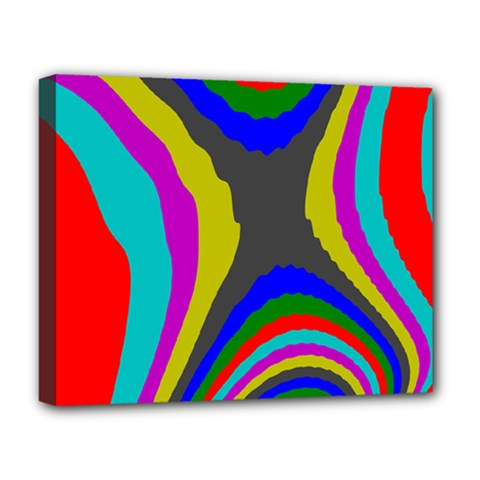 Pattern Rainbow Colorfull Wave Chevron Waves Deluxe Canvas 20  X 16