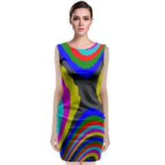 Pattern Rainbow Colorfull Wave Chevron Waves Classic Sleeveless Midi Dress
