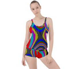 Pattern Rainbow Colorfull Wave Chevron Waves Boyleg Tankini Set