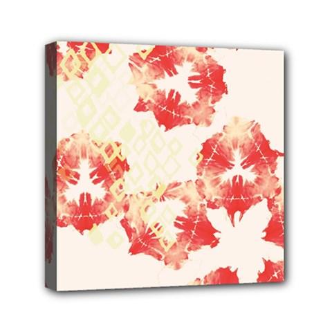 Pattern Flower Red Plaid Green Mini Canvas 6  X 6