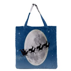 Santa Claus Christmas Fly Moon Night Blue Sky Grocery Tote Bag