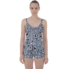 Psychedelic Zebra Black Circle Tie Front Two Piece Tankini