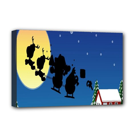 Santa Claus Christmas Sleigh Flying Moon House Tree Deluxe Canvas 18  X 12