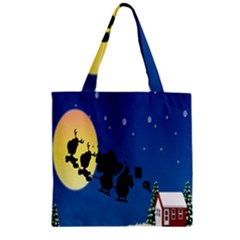 Santa Claus Christmas Sleigh Flying Moon House Tree Zipper Grocery Tote Bag