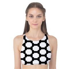 Tile Pattern Black White Tank Bikini Top