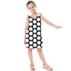 Tile Pattern Black White Kids  Sleeveless Dress