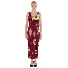 Snowflake Winter Illustration Colour Fitted Maxi Dress