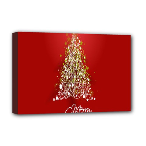 Tree Merry Christmas Red Star Deluxe Canvas 18  X 12