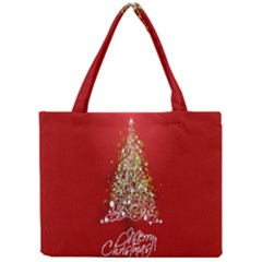 Tree Merry Christmas Red Star Mini Tote Bag