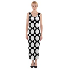 Tileable Circle Pattern Polka Dots Fitted Maxi Dress