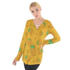 Fruit Pineapple Yellow Green Tie Up Tee