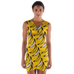 Fruit Bananas Yellow Orange White Wrap Front Bodycon Dress