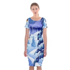 Christmas Wooden Snow Classic Short Sleeve Midi Dress