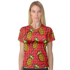Fruit Pineapple Red Yellow Green V Neck Sport Mesh Tee