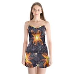Beautiful Orange Star Lily Fractal Flower At Night Satin Pajamas Set