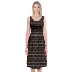 Brick1 Black Marble & Brown Denim (r) Midi Sleeveless Dress