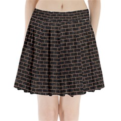 Brick1 Black Marble & Brown Denim (r) Pleated Mini Skirt