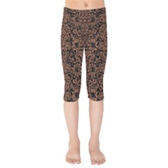 Damask2 Black Marble & Brown Denim (r) Kids  Capri Leggings