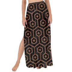 Hexagon1 Black Marble & Brown Denim (r) Maxi Chiffon Tie Up Sarong