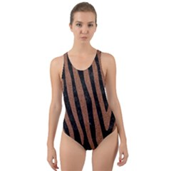 Skin4 Black Marble & Brown Denim Cut Out Back One Piece Swimsuit