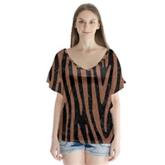 Skin4 Black Marble & Brown Denim V Neck Flutter Sleeve Top