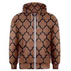 Tile1 Black Marble & Brown Denim Men s Zipper Hoodie