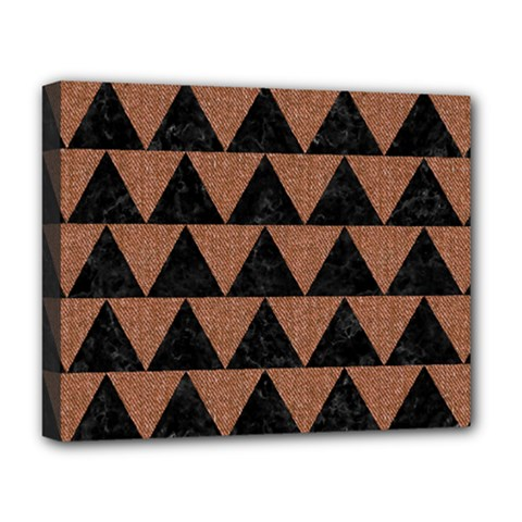 Triangle2 Black Marble & Brown Denim Deluxe Canvas 20  X 16