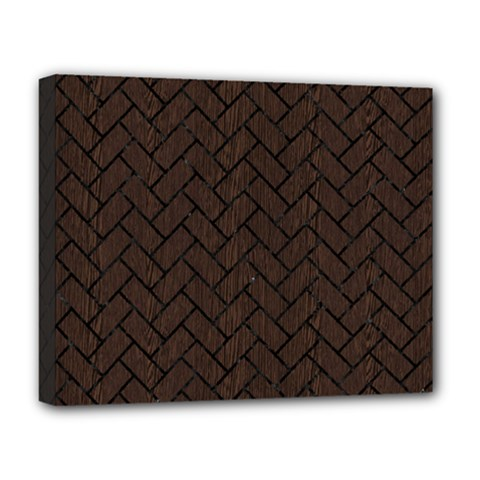 Brick2 Black Marble & Dark Brown Wood Deluxe Canvas 20  X 16