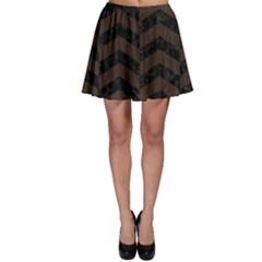 Chevron2 Black Marble & Dark Brown Wood Skater Skirt