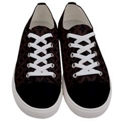 Circles3 Black Marble & Dark Brown Wood (r) Women s Low Top Canvas Sneakers